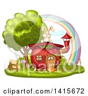 Clipart Of A Tomato House And Rabbit With A Rainbow Royalty Free Vector Illustration by merlinul
