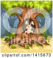 Clipart Of A Rabbit In A Tree Hollow Royalty Free Vector Illustration by merlinul