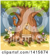 Clipart Of A Rabbit At A Tree House Royalty Free Vector Illustration by merlinul