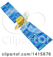 Clipart Of A Communications Satellite In Orbit Royalty Free Vector Illustration