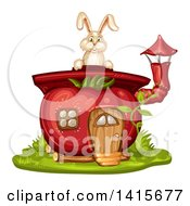 Clipart Of A Tomato House And Rabbit Royalty Free Vector Illustration by merlinul