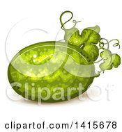 Clipart Of A Watermelon On The Vine Royalty Free Vector Illustration