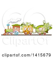 Clipart Of A Vegetable Train Royalty Free Vector Illustration by merlinul