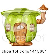 Clipart Of A Green Bell Pepper House Royalty Free Vector Illustration