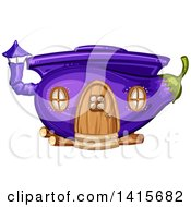 Clipart Of A Purple Eggplant House Royalty Free Vector Illustration