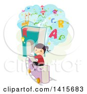 Clipart Of A School Girl Riding A Book Train To A Cloud Land Of Education Royalty Free Vector Illustration by BNP Design Studio