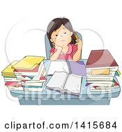Clipart Of A Bored Or Tired School Girl Studying At A Desk Royalty Free Vector Illustration
