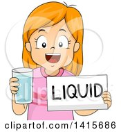 Clipart Of A Red Haired White Girl Holding A Glass Of Water And A Liquid Sign Royalty Free Vector Illustration