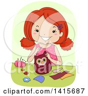 Clipart Of A Red Haired White Girl Sewing An Owl Royalty Free Vector Illustration