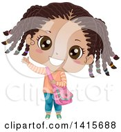 Clipart Of A Cute Waving Black Girl With Her Hair In Braids Royalty Free Vector Illustration by BNP Design Studio