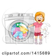 Clipart Of A Red Haired White Girl Pointing To A Washing Machine Royalty Free Vector Illustration by BNP Design Studio