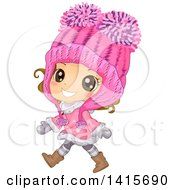Clipart Of A Brunette White Girl Wearing A Big Pink Winter Hat And Walking Royalty Free Vector Illustration