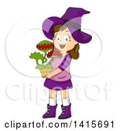 Clipart Of A Brunette White Witch Girl Holding A Venus Fly Trap Plant Royalty Free Vector Illustration by BNP Design Studio