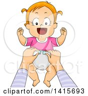 Clipart Of A Red Haired White Baby Girl Getting A Diaper Change Royalty Free Vector Illustration