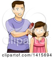 Clipart Of A Brunette White Girl Getting Her Hair Brushed By Her Dad Royalty Free Vector Illustration