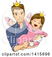 Clipart Of A Brunette White Girl Playing Fairy Tea Time With Her Dad Royalty Free Vector Illustration
