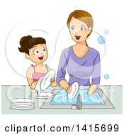 Clipart Of A Brunette White Girl Helping Her Mom Wash Dishes Royalty Free Vector Illustration by BNP Design Studio