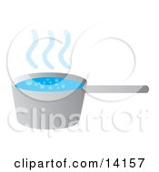 Hot Water Boiling In A Pot