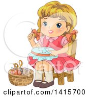 Clipart Of A Retro Blond White Girl Working On An Embroidery Frame Royalty Free Vector Illustration