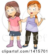 Clipart Of A Brunette White Girl Getting Empathy From A Friend Royalty Free Vector Illustration