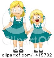 Clipart Of A Blond White Girl And Little Sister In Matching Retro Dresses Royalty Free Vector Illustration