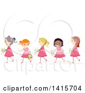 Clipart Of A Line Of Flower Girls In Pink Dresses Royalty Free Vector Illustration