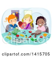 Clipart Of A Group Of Girls Sewing Projects Together Royalty Free Vector Illustration by BNP Design Studio
