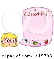 Clipart Of A Blond White Girl Citing Classroom Rules Royalty Free Vector Illustration