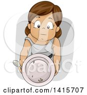Clipart Of A Hungry Brunette White Girl Holding Up A Plate For Food Royalty Free Vector Illustration by BNP Design Studio