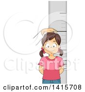 Clipart Of A Brunette White Girl Getting Her Height Measured Royalty Free Vector Illustration