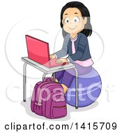 Clipart Of A Happy School Girl Using A Pink Laptop And Sitting On An Exercise Ball Royalty Free Vector Illustration by BNP Design Studio