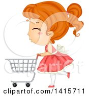 Clipart Of A Red Haired White Girl Pushing A Shopping Cart Royalty Free Vector Illustration