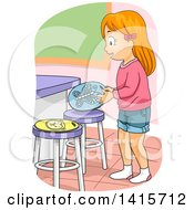 Clipart Of A Red Haired White Girl Setting Up Stool Seat Markers Royalty Free Vector Illustration