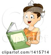 Clipart Of A Brunette Cave Girl Reading A Book Royalty Free Vector Illustration