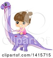 Clipart Of A Brunette Cave Girl Riding A Brontosaurs Dinosaur Royalty Free Vector Illustration by BNP Design Studio