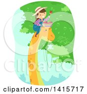 Clipart Of A Brunette White Girl On A Dinosaurs Head Picking Fruit Royalty Free Vector Illustration