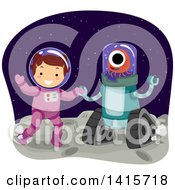 Clipart Of A Brunette White Girl In A Space Suit Dancing With An Alien Royalty Free Vector Illustration by BNP Design Studio