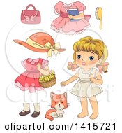 Retro Blond White Girl With Clothing And A Cat