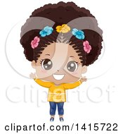 Clipart Of A Cute Black Girl With Flowers In Her Hair Royalty Free Vector Illustration