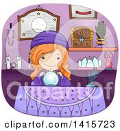 Clipart Of A Red Haired White Gypsy Girl With A Magic Crystal Ball Royalty Free Vector Illustration