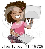 Clipart Of A Happy Black School Girl Holding Placard Answer Signs Royalty Free Vector Illustration