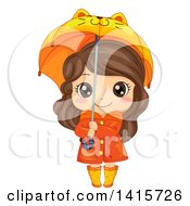 Clipart Of A Brunette White Girl In Rain Gear Holding A Cat Umbrella Royalty Free Vector Illustration