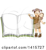 Clipart Of A Brunette White Safari Girl With A Monkey Presenting An Open Book Royalty Free Vector Illustration by BNP Design Studio