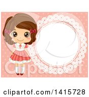 Clipart Of A Retro Brunette White Girl By A Round Frame On Pink Royalty Free Vector Illustration