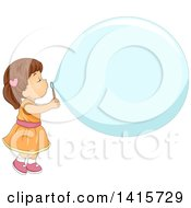 Clipart Of A Brunette White Girl Blowing A Big Bubble Royalty Free Vector Illustration by BNP Design Studio