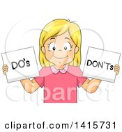 Clipart Of A Blond White Girl Holding Dos And Donts Signs Royalty Free Vector Illustration