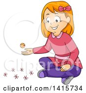 Clipart Of A Red Haired White Girl Playing Jackstones Royalty Free Vector Illustration