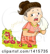 Clipart Of A Brunette White Girl Sneezing From Flower Pollen Royalty Free Vector Illustration by BNP Design Studio