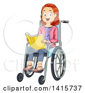 Clipart Of A Red Haired White Girl Reading In A Wheelchair Royalty Free Vector Illustration by BNP Design Studio