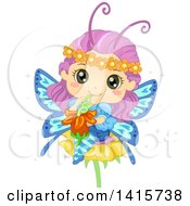 Clipart Of A Fairy Butterfly Girl Drinking Flower Nectar Royalty Free Vector Illustration by BNP Design Studio